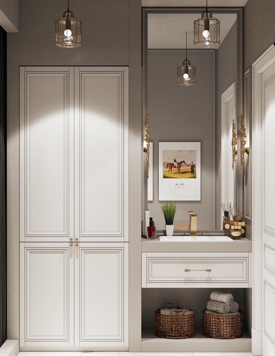 3-modern-neo-classical-style-interior-design-bathroom-wardrobe-white-drawers-beneath-wash-basin-gray-walls-mirror-wicker-baskets-suspended-lamps-wall-sconces-brass-handles-faucet-details
