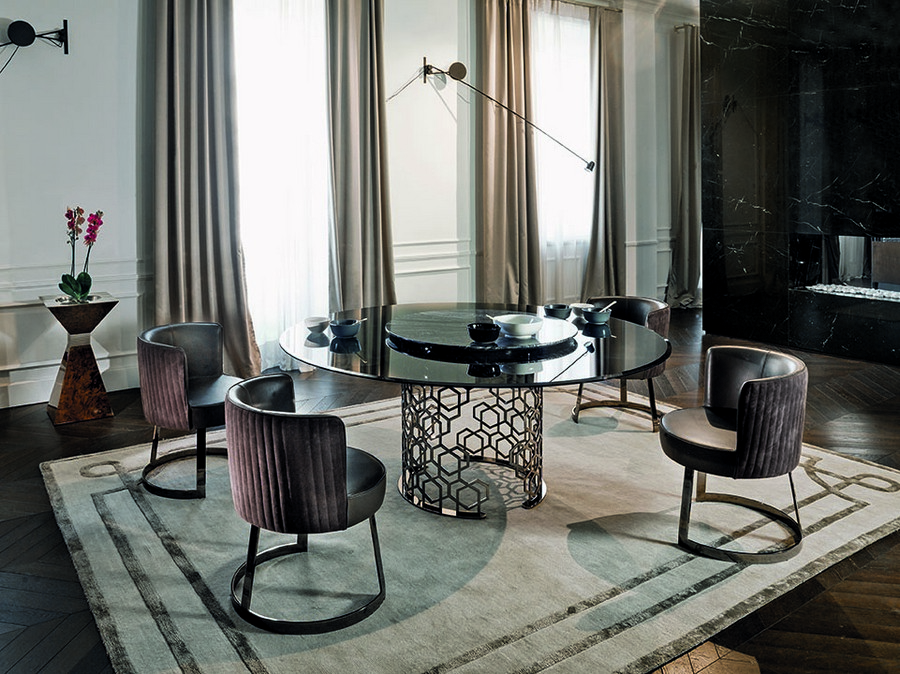 4-1-Longhi-new-collection-of-contemporary-style-furniture-at-Salone-de-Mobile-Exhibition-Milan-2017-dining-room-interior-design-set-round-glossy-table-chairs