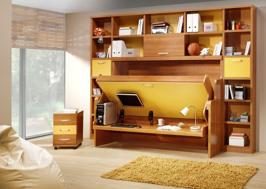4-2-wall-bed-pull-down-fold-down-convertible-folding-Murphy-bed-wooden-shelving-unit-work-area-desk-study-kid's-room-in-interior-design-small-tight-space-one-room-apartment-ideas-studio