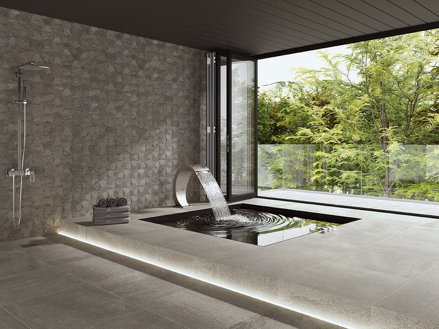 4-9-ceramic-tiles-floor-swimming-pool-luxurious-terrace-design-shower-tropical-LED-light-gray-monochrome-Saloni-brand-collection-2017