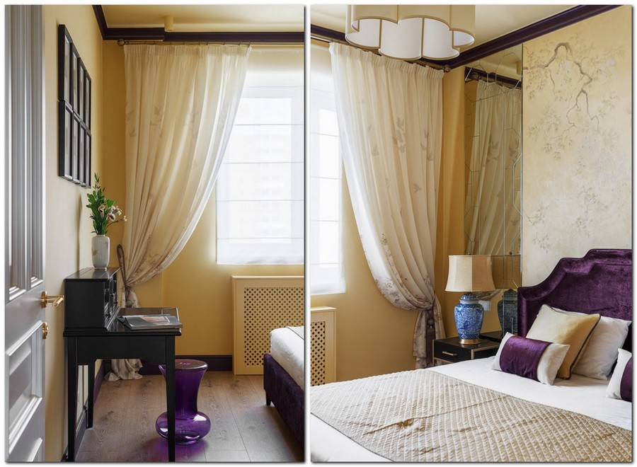 4-beige-brown-and-purple-pastel-warm-colors-bedroom-interior-design-upholstered-velvet-bed-contemporary-style-bedside-lamp-drapery-draped-sheer-curtains-piano-floor-vase-artworks-radiator
