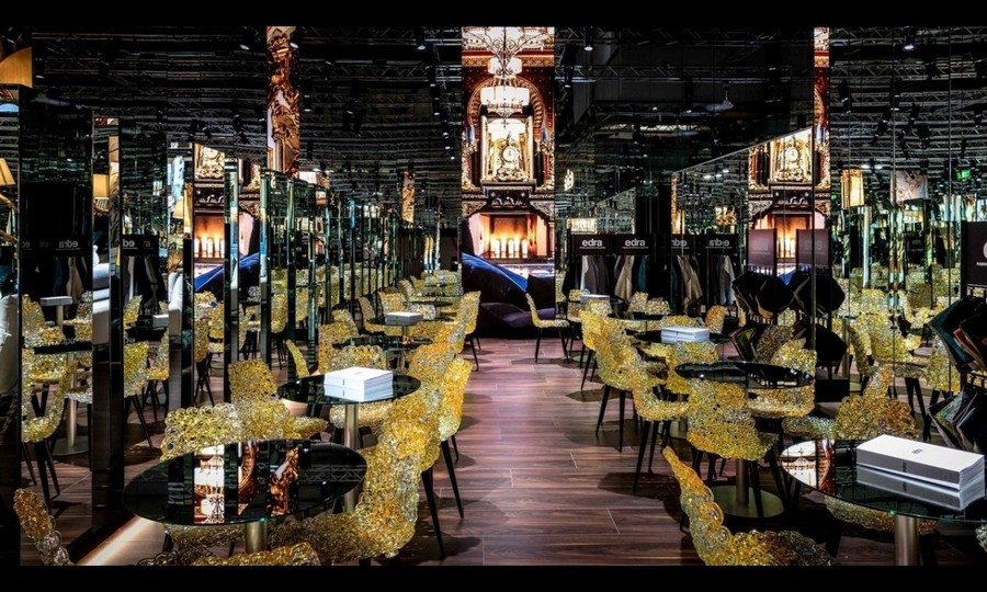 5-1-Edra-new-collection-of-contemporary-style-furniture-at-Salone-de-Mobile-Exhibition-Milan-2017-restaurant-interior-black-walls-yellow-chairs-glossy-dining-tables