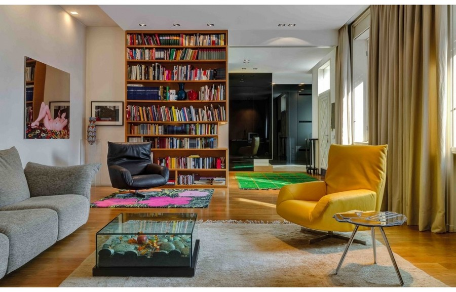 5-3-Edra-new-collection-of-contemporary-style-furniture-at-Salone-de-Mobile-Exhibition-Milan-2017-living-room-interior-design-gray-sofa-yellow-arm-chair-glass-coffee-table-rug-bookshelves-bookstand-home-library