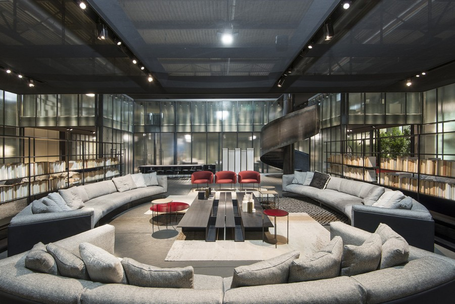 5-3-Living-Divani-new-collection-of-contemporary-style-furniture-at-Salone-de-Mobile-Exhibition-Milan-2017-rounded-circular-gra-sofas-red-arm-chairs-long-coffee-tables-living-room-interior-design-winding-staircase