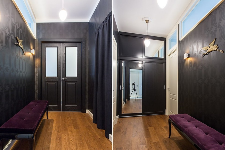 5-4-modern-corridor-hallway-interior-design-in-style-of-1950s-dark-black-wallpaper-indulgence-collection-by-harlequin-transom-glass-door-inserts-purple-ottoman-walk-in-closet-curtain