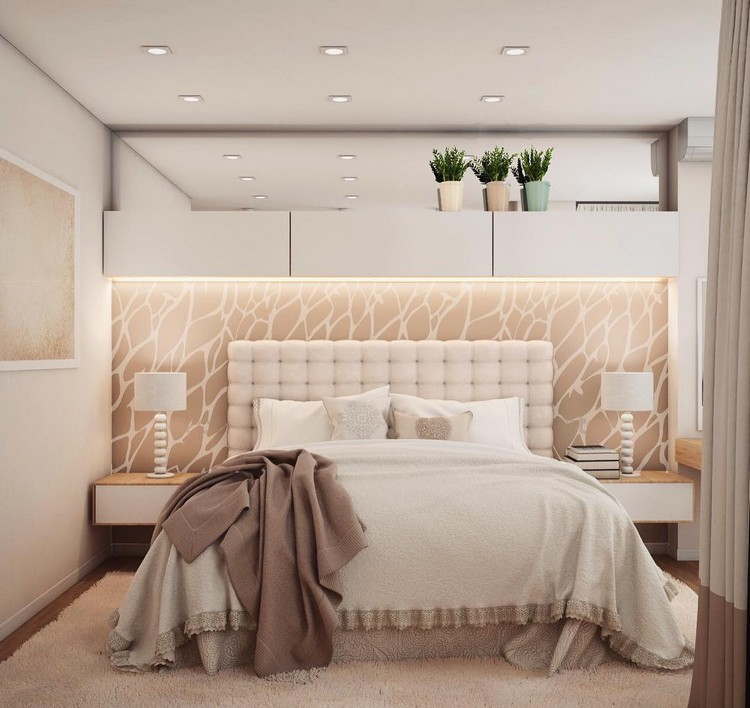 5-bedroom-interior-design-beige-and-white-contemporary-style-airy-light-romantic-mirror-wall-insert-capitone-upholstered-bed-headboard-bedside-lamps-rug-bicolor-curtains