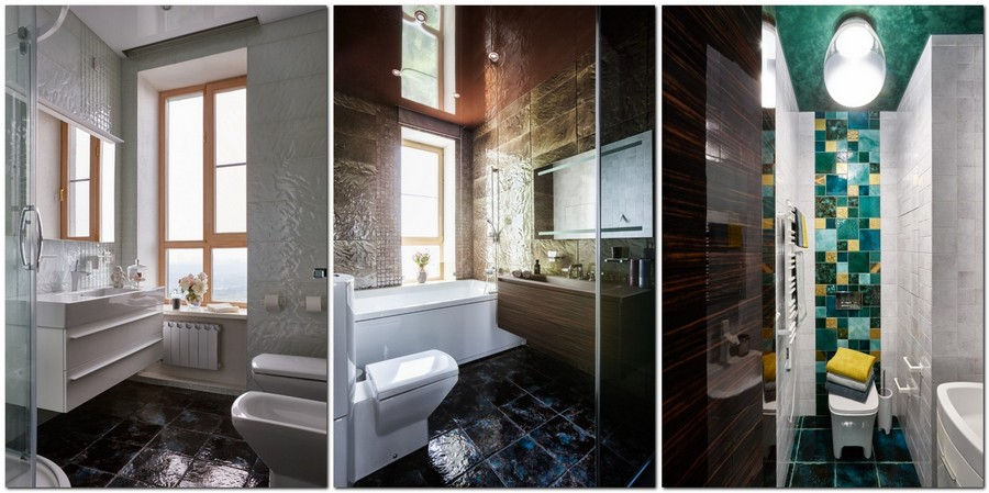 5-contemporary-style-interior-design-bathroom-light-beige-brown-colorful-three-bathrooms-with-narrow-windows-suspended-wall-mounted-vanity-units-toilet-shower-bathtub-mosaic-wall-tiles