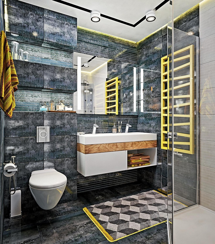 5-industrial-loft-style-bright-interior-design-with-yellow-accents-gray-bathroom-brutal-wall-floor-tiles-suspended-wall-mounted-wash-basin-vanity-unit-geometrical-creative-towel-drying-radiator-track-lights-rug