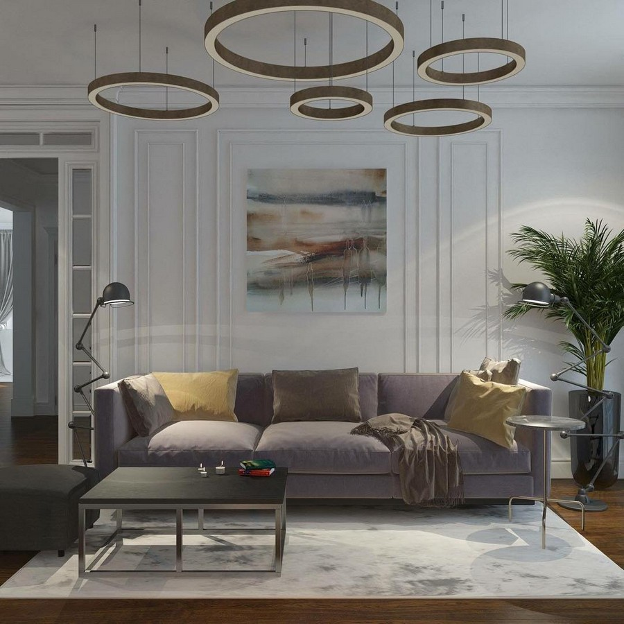 5-lounge-living-room-interior-design-modern-classics-style-light-horizontal-ring-by-Henge-geometrical-motifs-lamp-floor-lamp-gray-sofa-walls-artwork-wall-art-palm-potted-coffee-table-rug-earthy-colors-tones