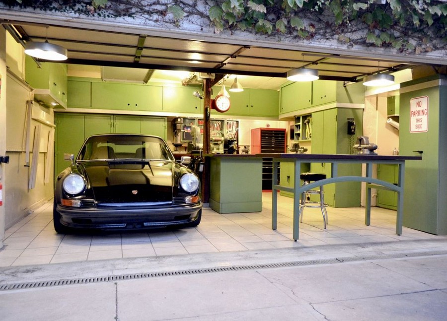 5-neat-tidy-clean-garage-green-cabinet-storage-ideas-table-workbench-tools-bright-lights-car