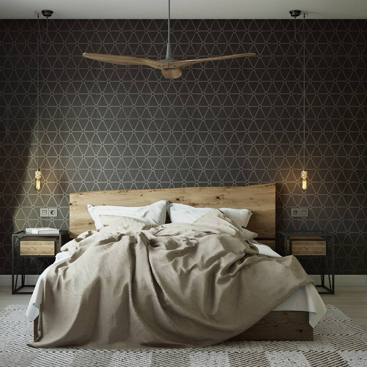 6-bedroom-interior-design-graphite-gray-loft-style-motifs-geometrical-wallpaper-rough-wood-wooden-bed-headboard-metal-nightstands-exposed-wires-light-bulbs-rug-bedspread-beige