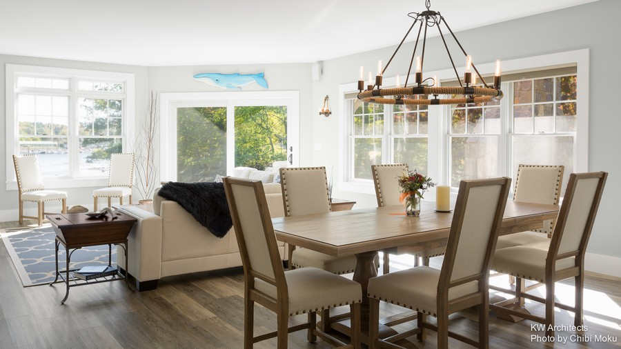Port watch gorgeous new england house on the bank of the for New england dining room ideas