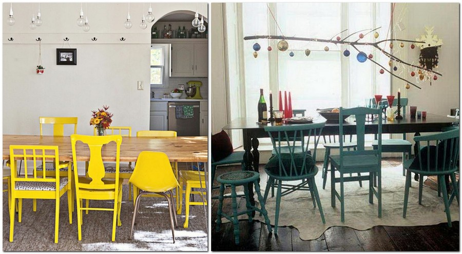 6-dining-room-zone-area-interior-design-mismatched-chairs-of-different-height-stools-mixture-yellow-blue