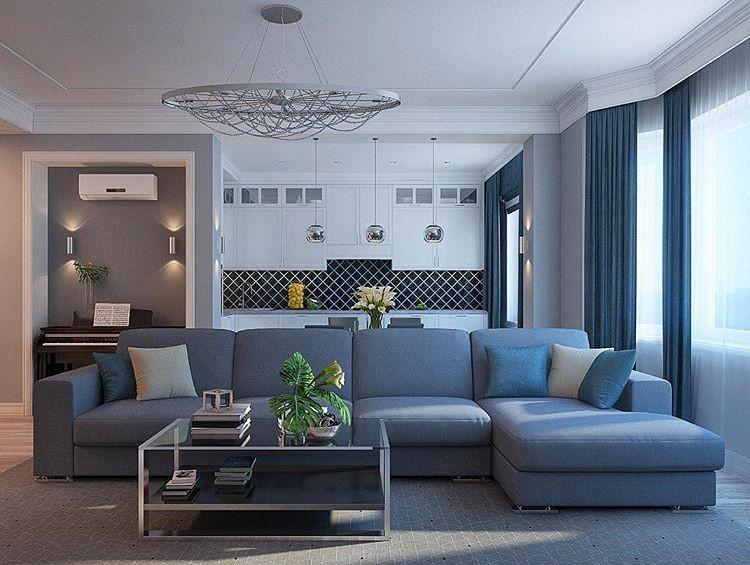 6-lounge-living-room-interior-design-gray-white-black-open-concept-big-corner-sofa-metal-coffee-table-chandelier-piano-in-wall-recess-sconces-suspended-lamps-kitchen-white-set-cabinets