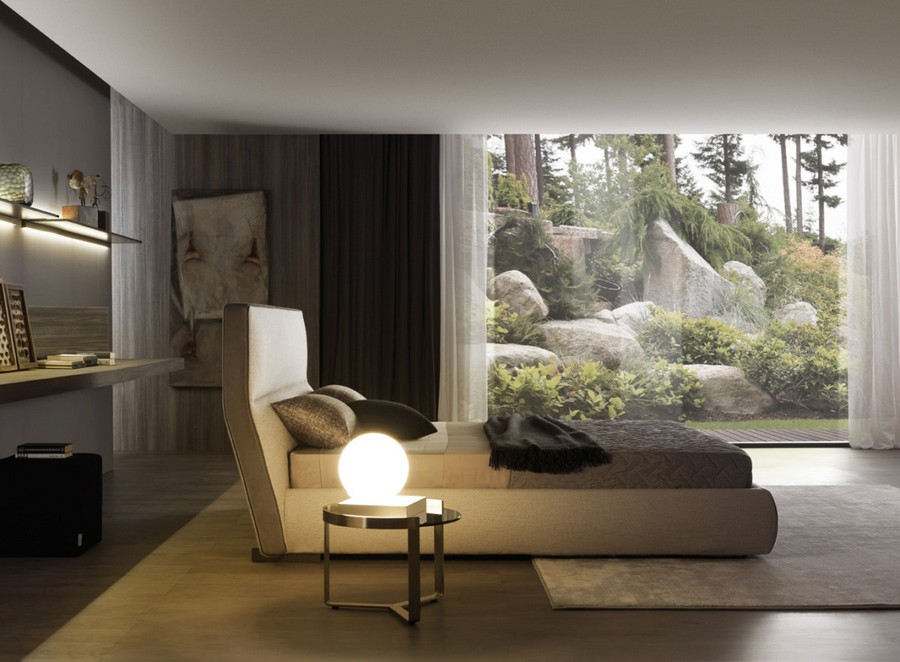 7-1- Misuraemme-new-collection-of-contemporary-style-furniture-at-Salone-de-Mobile-Exhibition-Milan-2017-eco-style-bedroom-interior-design-naturalistic-colors-beigebrown-green-beautiful-forest-view-panoramic-windows-bed