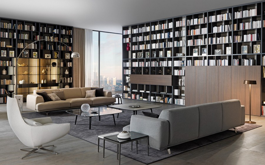 7-5-Misuraemme-new-collection-of-contemporary-style-furniture-at-Salone-de-Mobile-Exhibition-Milan-2017-big-living-room-interior-design-huge-home-library-ceiling-to-floor-bookshelves-bookstand-sofas-coffee-tables-arm-chairs