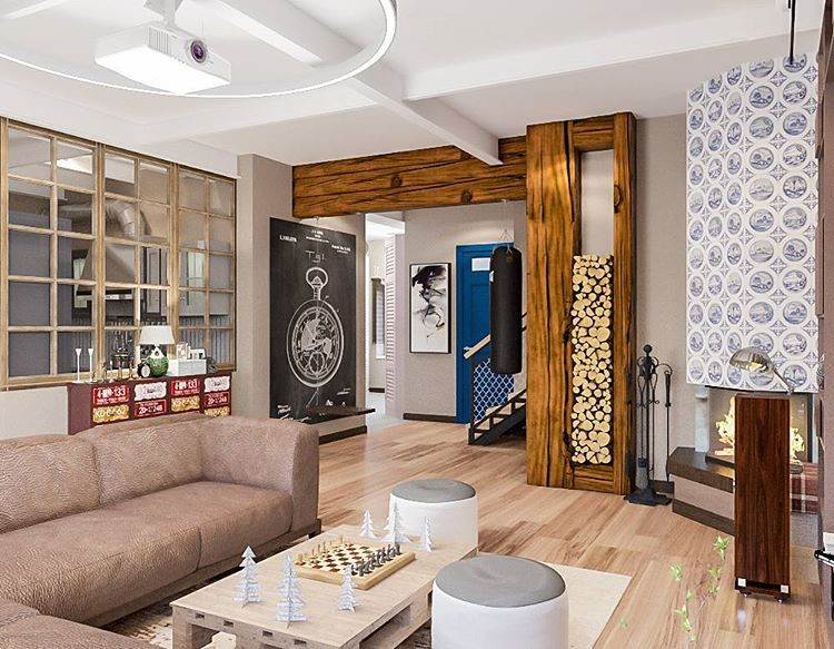 7-lounge-living-room-interior-design-eclectic-style-country-house-beige-sofa-light-floor-glass-wall-frame-firewood-storage-coffee-table-made-from-wooden-palette-blue-and-white-tiled-stove-fireplace-chess-set