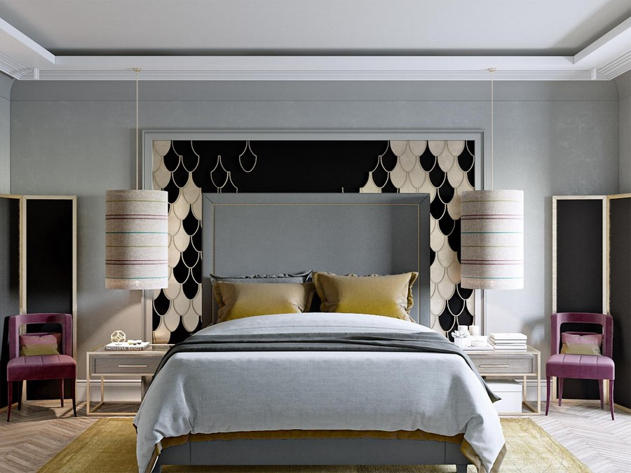 7-modern-neo-classical-style-interior-design-bedroom-symmetrical-furniture-arrangement-gray-upholstered-bed-tall-headboard-scale-pattern-wall-mural-black-and-white-yellow-pillows-rug-purple-arm-chairs-screens