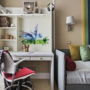 7-traditional-style-kids-teenage-toddler-room-bedroom-interior-design-gray-sofa-multicolor-wall-stripes-throw-pillows-accents-red-wheeled-chair-white-desk-with-drawers-and-shelves