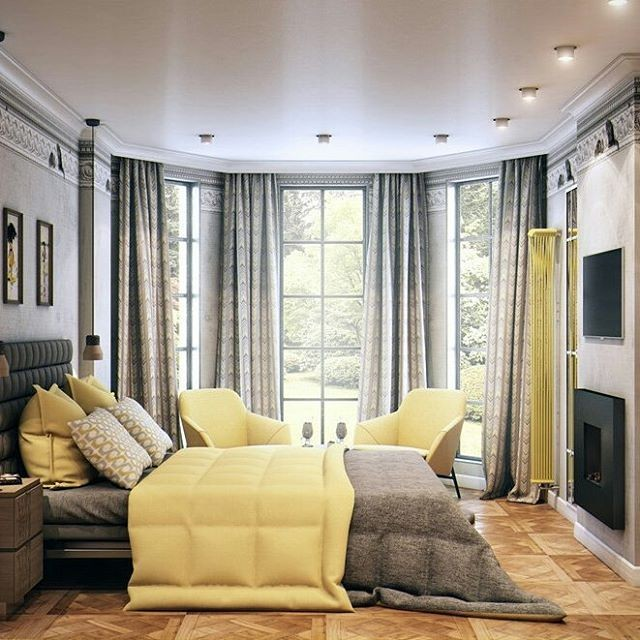 8-1-bedroom-interior-design-contemporary-style-bay-window-ceiling-to-floor-gray-and-pale-yellow-curtains-upholstered-bed-headboard-fireplace-TV-set-radiator-cornices-classical-crown-moldings-modular-parquet-light