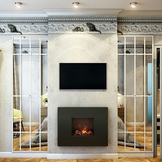 8-2-bedroom-interior-design-contemporary-style-fireplace-TV-set-opposite-the-bed-full-length-mirror-wall-panels-classical-crown-moldings-with-cats-spot-lights-light-modular-parquet-floor