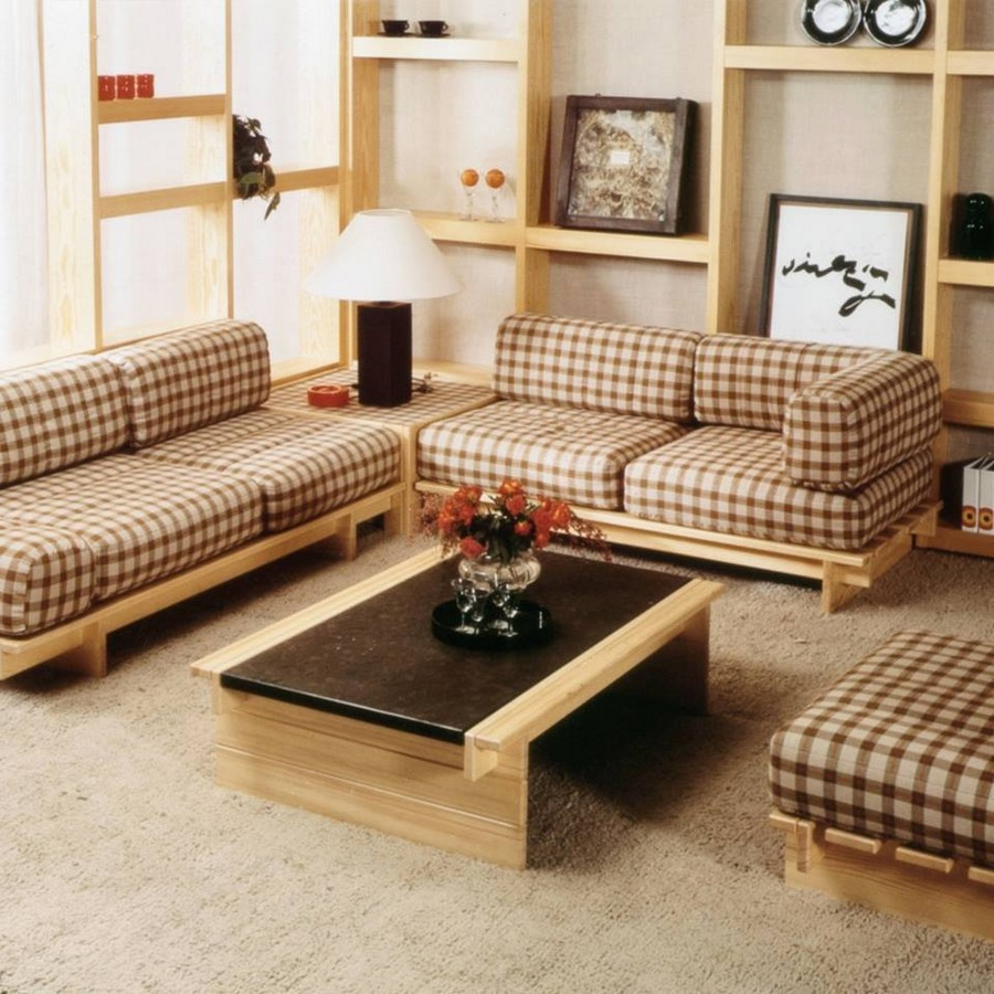 8-5-Rolf-Benz-new-collection-of-traditional-style-furniture-at-Salone-de-Mobile-Exhibition-Milan-2017-chequered-wooden-sofa-upholstered-cushions-beige-and-brown-coffe-table-shelves