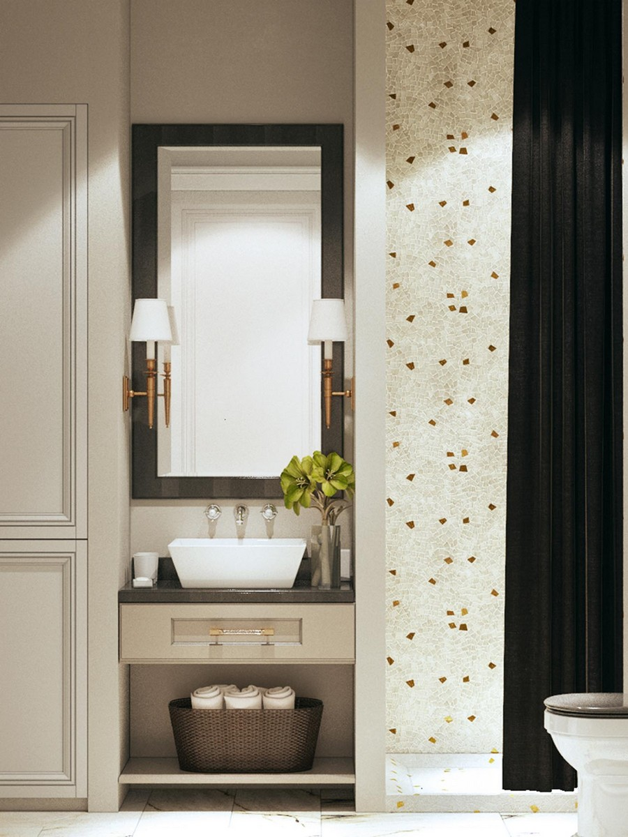 8-modern-neo-classical-style-interior-design-white-beige-and-brown-bathroom-shower-curtains-mosaic-tiles-wicker-basket-storage-top-mount-wash-basin-flowers-sconces-closet-wardrobe-mirror-drawers