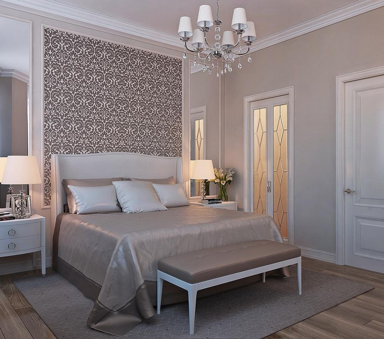 9-bedroom-interior-design-pastel-light-gray-beige-white-neo-classical-style-bedside-lamps-nighstands-elegant-ottoman-beautiful-wallpaper-glass-door-geometrical-rug