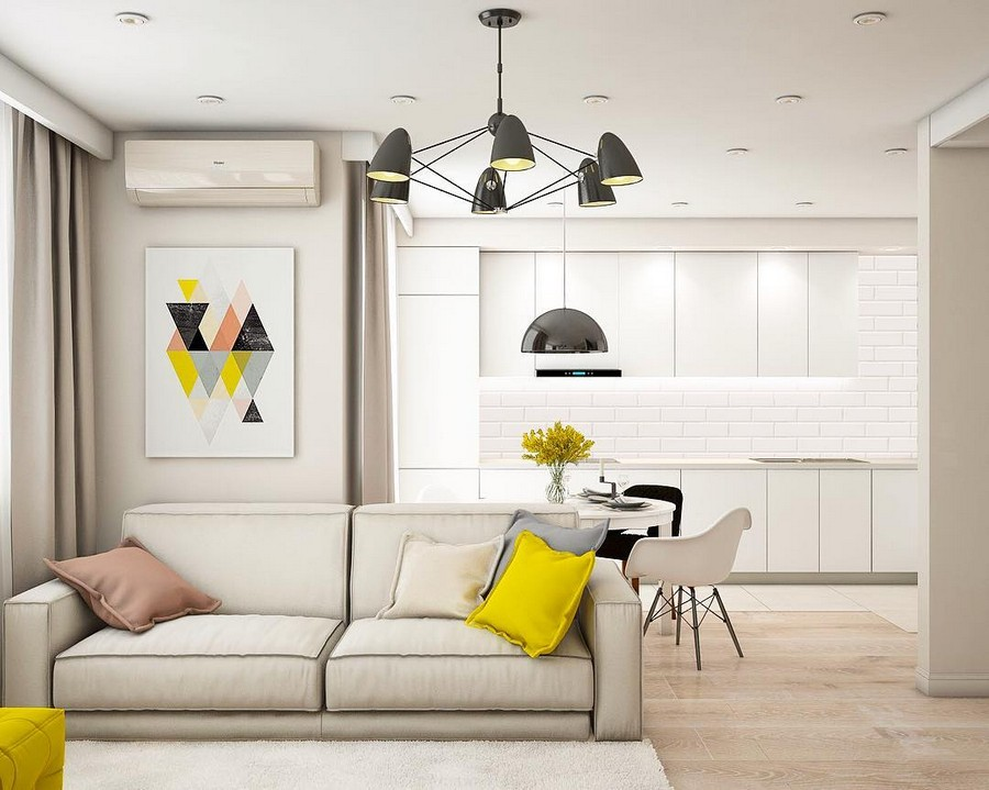 9-lounge-living-room-interior-design-minimalist-style-pure-white-walls-sofa-kitchen-open-concept-total-white-backsplash-and-cabinets-geometrical-wall-art-artwork-yellow-black-pink-accents-throw-pillows-chairs