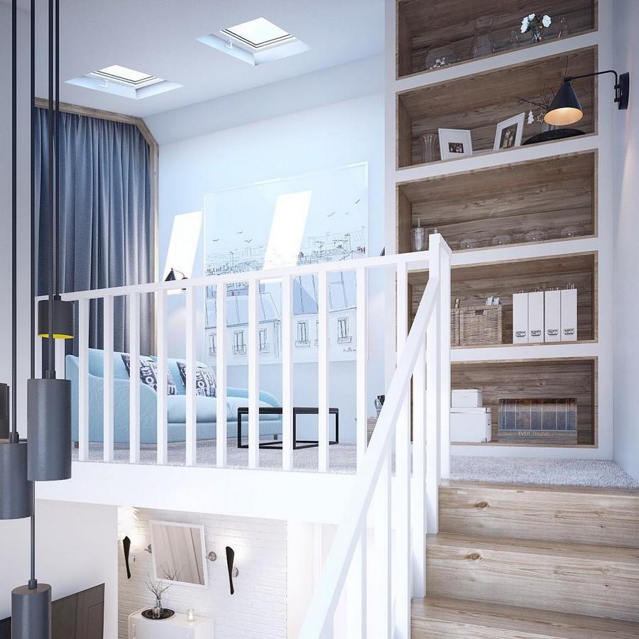 9-mezzanine-loft-floor-interior-design-bookshelves-lounge-white-staircase-gray-curtains-sketch-poster-roofs-artwork-skylights