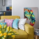 0-contemporary-style-interior-design-airy-light-bright-accents-open-concept-living-room-kitchen-mustard-yellow-sofa-throw-pillows-tulips-flower-vase-art-work-elephant-painting-gray-walls