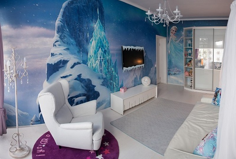dreams come true girl s bedroom inspired by the frozen cartoon home interior design. Black Bedroom Furniture Sets. Home Design Ideas