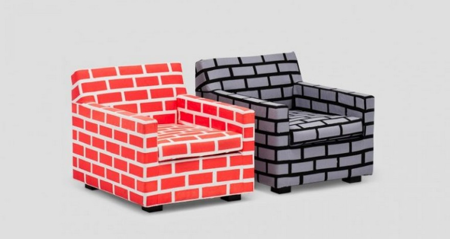 1-1-creative-interesting-non-standard-furniture-design-faux-fake-brick-masonry-by-Richard-Woods-Sebastian-Wrong-British-red-and-gray-arm-chairs