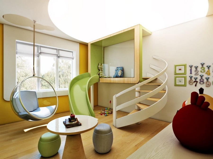 1-1-kids-toddler-room-playroom-interior-design-idea-light-yellow-green-blue-accents-wooden-furniture-coffee-table-ottomans-slide-ladder-ceiling-mounted-floating-chair-ceiling-light-decor