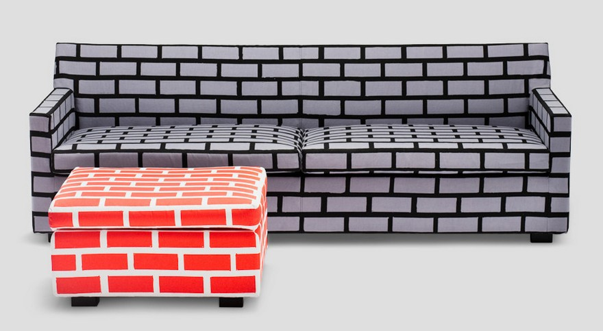 1-2-creative-interesting-non-standard-furniture-design-faux-fake-brick-masonry-by-Richard-Woods-Sebastian-Wrong-British-red-ottoman-gray-sofa