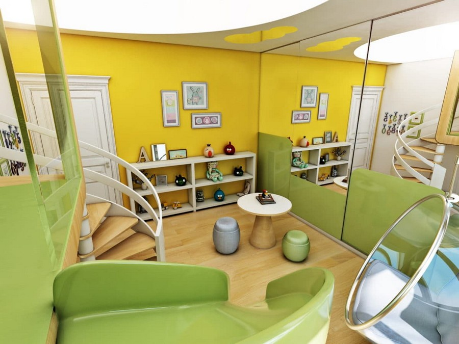 1-2-kids-toddler-room-playroom-interior-design-idea-light-yellow-green-blue-accents-wooden-furniture-coffee-table-ottomans-slide-ladder-ceiling-mounted-floating-chair-ceiling-light-shelving-unit-mirror-wall
