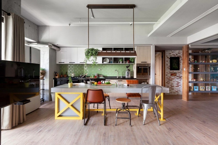 1-2-open-concept-living-room-dining-area-kitchen-interior-design-Taiwan-loft-style-island-yellow-bar-table-legs-pale-green-backsplash-tiles-TV-set-bookshelves-mismatched-chairs-stools