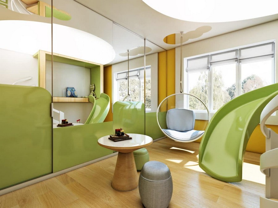 1-3-kids-toddler-room-playroom-interior-design-idea-light-yellow-green-blue-accents-wooden-furniture-coffee-table-ottomans-slide-ceiling-mounted-floating-chair-ceiling-light-shelving-unit-mirror-wall