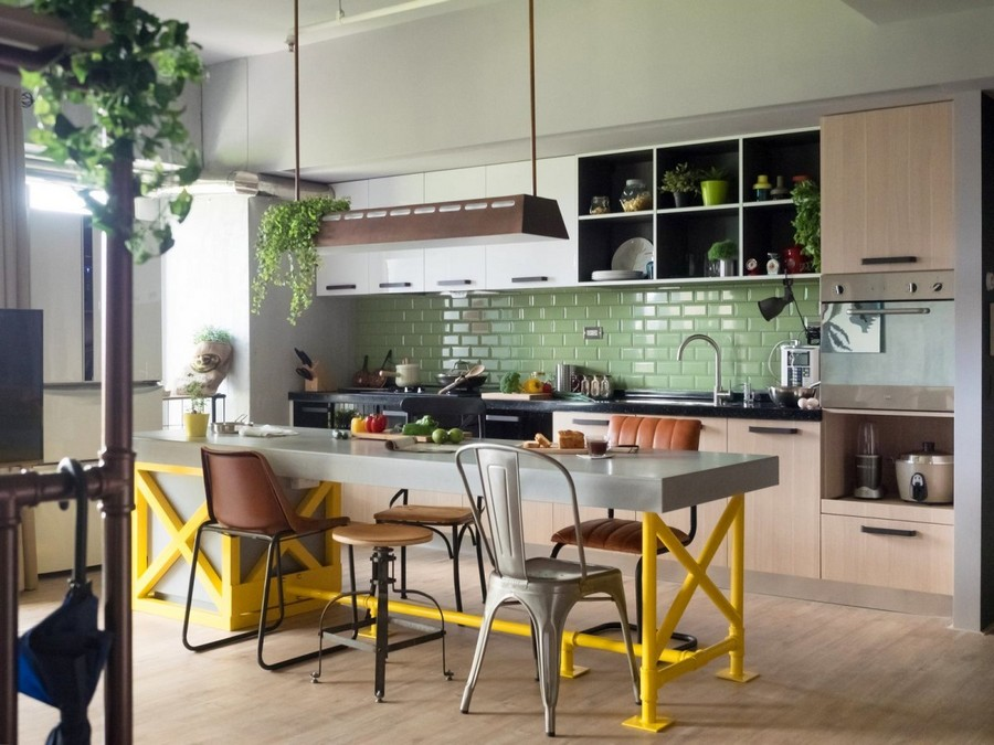 1-4-1-1-open-concept-living-room-dining-area-kitchen-interior-design-Taiwan-island-bar-table-mismatchen-stools-chairs-yellow-legs-pastel-green-backsplash-clinker-wall-tiles-loft-style-motifs