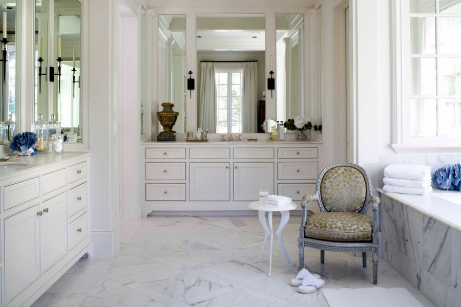 1-French-style-bathroom-interior-design-ideas-light-pastel-colors-romantic-wash-basin-vanity-unit-bathtub-white-wooden-furniture-elegant-arm-chair-marble-floor