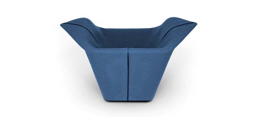 1-Garment-design-by-Benjamin-Hubert-minimalistic-minimalist-style-furniture-blue-arm-chair-of-non-standard-shape-contemporary