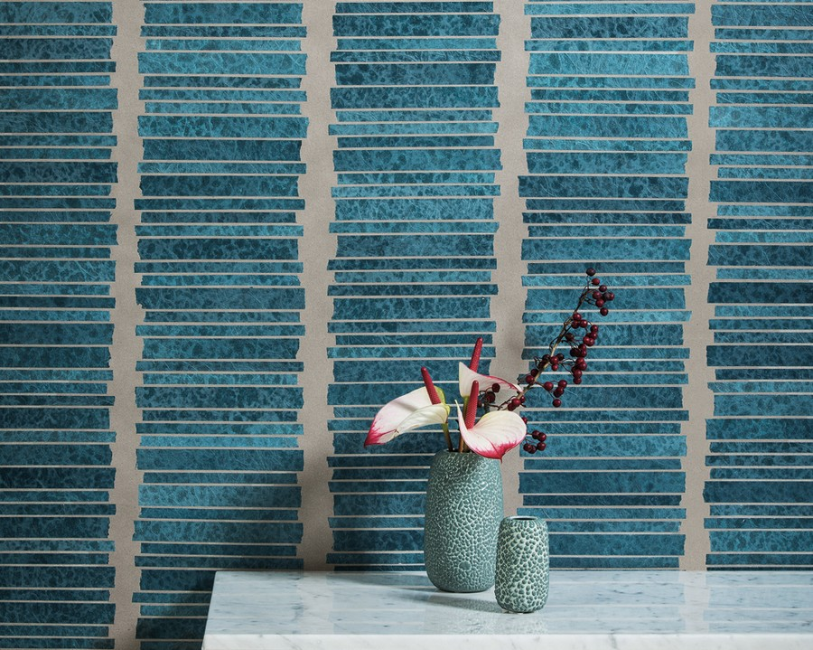 1-Omexco-handmade-hand-crafted-wallpaper-wall-covering-non-woven-eco-friendly-the-Japanese-paper-washi-the-Collages-collection-banana-fibers-blue-and-gray