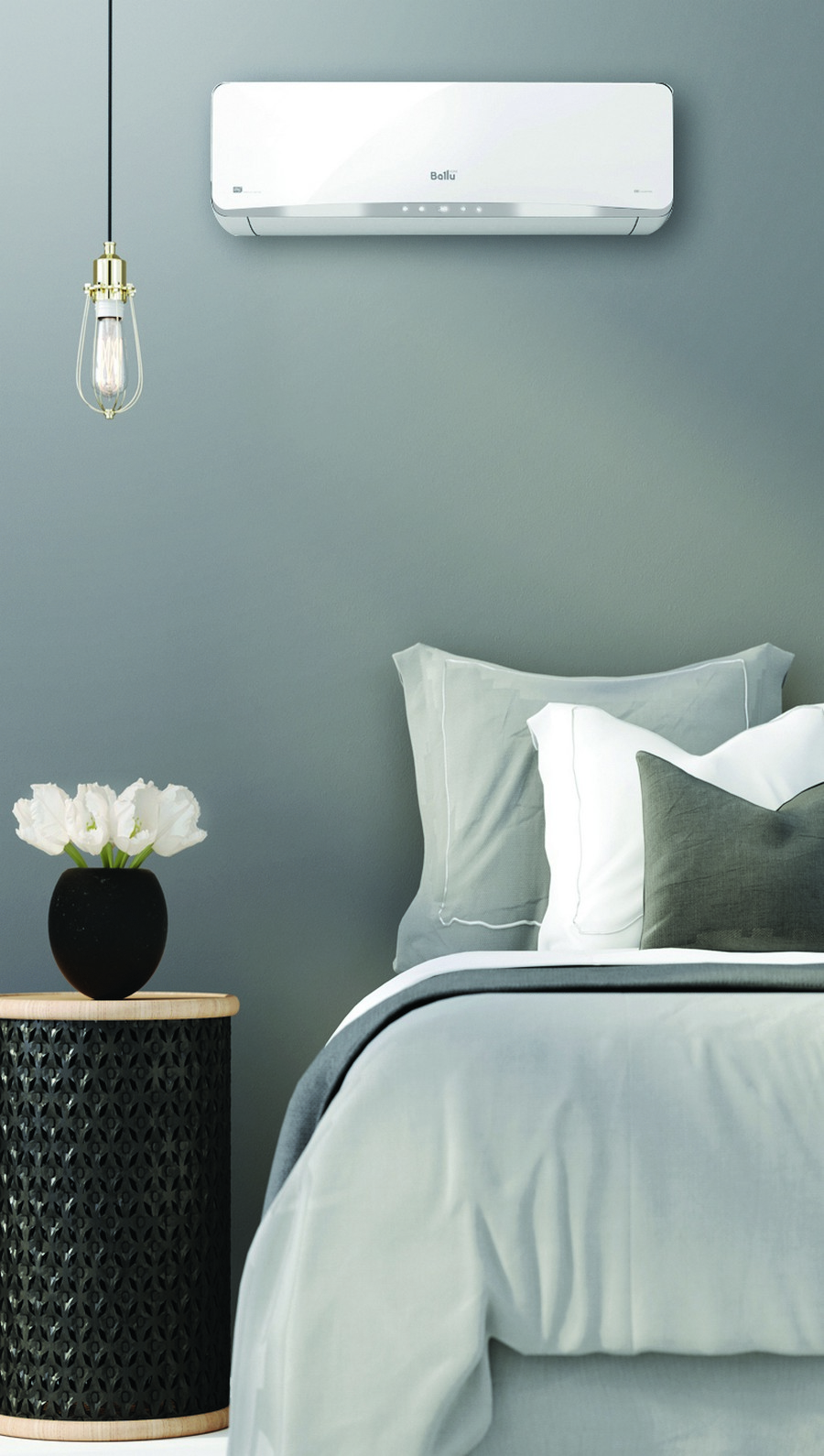 1-air-conditioner-in-the-bedroom-interior-design-minimalist-style-oval-nightstand-bluish-gray-wall-pendant-lamp-exposed-buld-wires-gray-bedspread-pillows