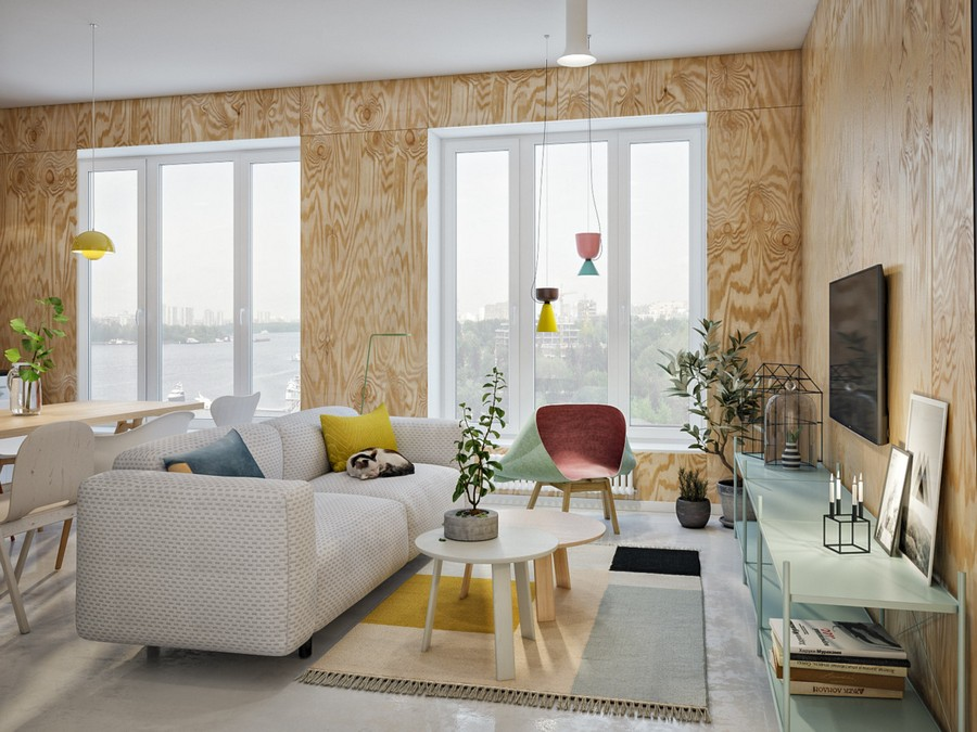 1-creative-Scandinavian-style-interior-design-living-room-lounge-open-airy-light-big-panoramic-windows-plywood-walls-wood-grain-rug-coffee-tables-arm-chair-pendant-lamps-white-sofa-bright-accents-indoor-plants