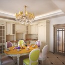 1-neo-classical-style-interior-design-light-open-concept-kitchen-dining-room-beige-soild-wood-cabinets-door-cornices-oval-table-mismatched-chairs-chandelier-crystal-glass