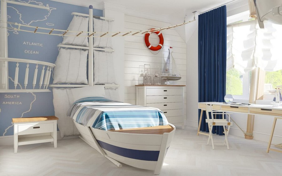 10-1-kids-toddler-room-bedroom-playroom-interior-design-idea-boy's-nautical-style-marine-sea-ship-theme-mast-deck-floor-sails-curtains-blue-red-accents-white-walls-rope-ladder-boat-shaped-bed-work-desk-area-chest