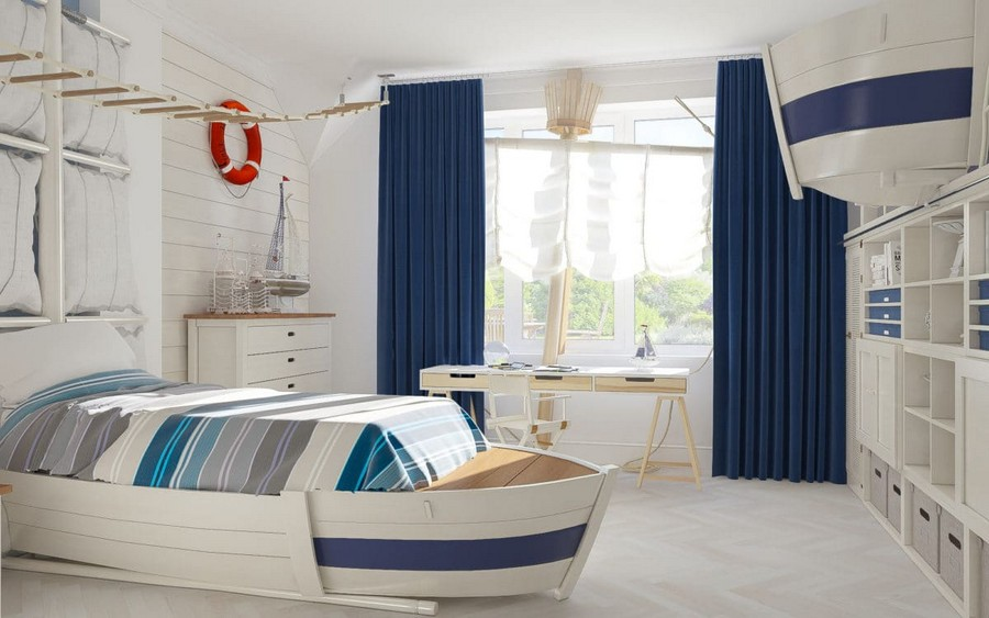 10-2-kids-toddler-room-bedroom-playroom-interior-design-idea-boy's-nautical-style-marine-sea-ship-theme-mast-sails-curtains-blue-red-accents-white-walls-rope-ladder-boat-shaped-bed-work-desk-area-shelves