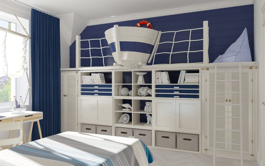 10-4-kids-toddler-room-bedroom-playroom-interior-design-idea-boy's-nautical-style-marine-sea-ship-theme-sails-curtains-blue-red-accents-white-walls-work-desk-area-shelving-unit-wardrobe-ladder