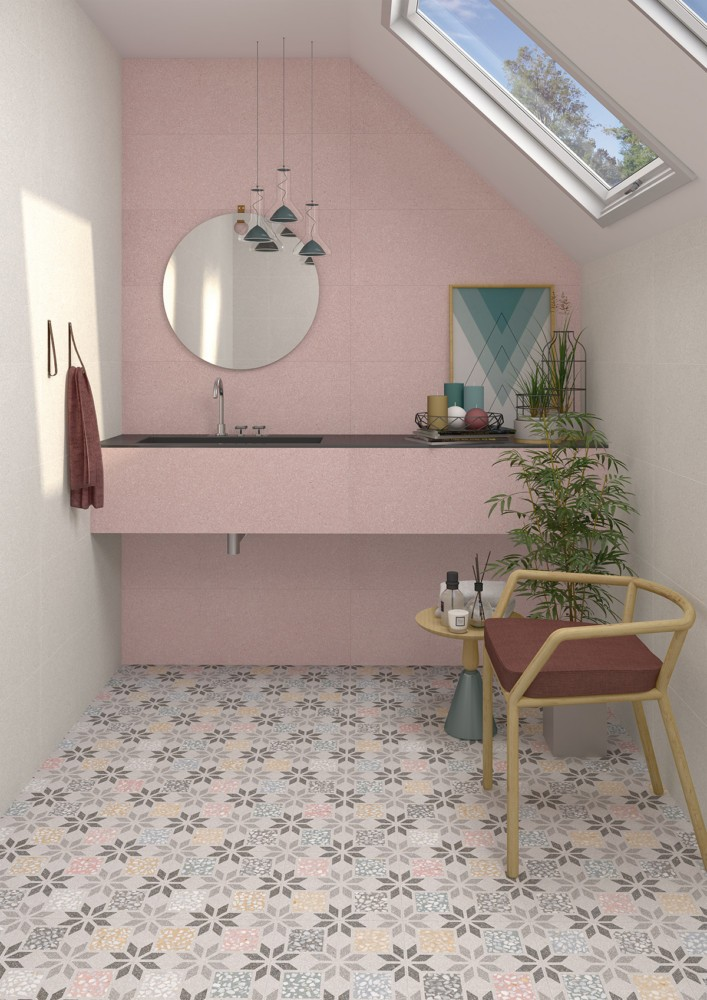 11-11-ceramic-tiles-in-interior-design-Vives-brand-collection-2017-matte-pink-wall-tiles-monochrome-faux-Mettlach-style-tiles-floor-floral-attic-floor-bathroom-sloped-ceiling-skylight