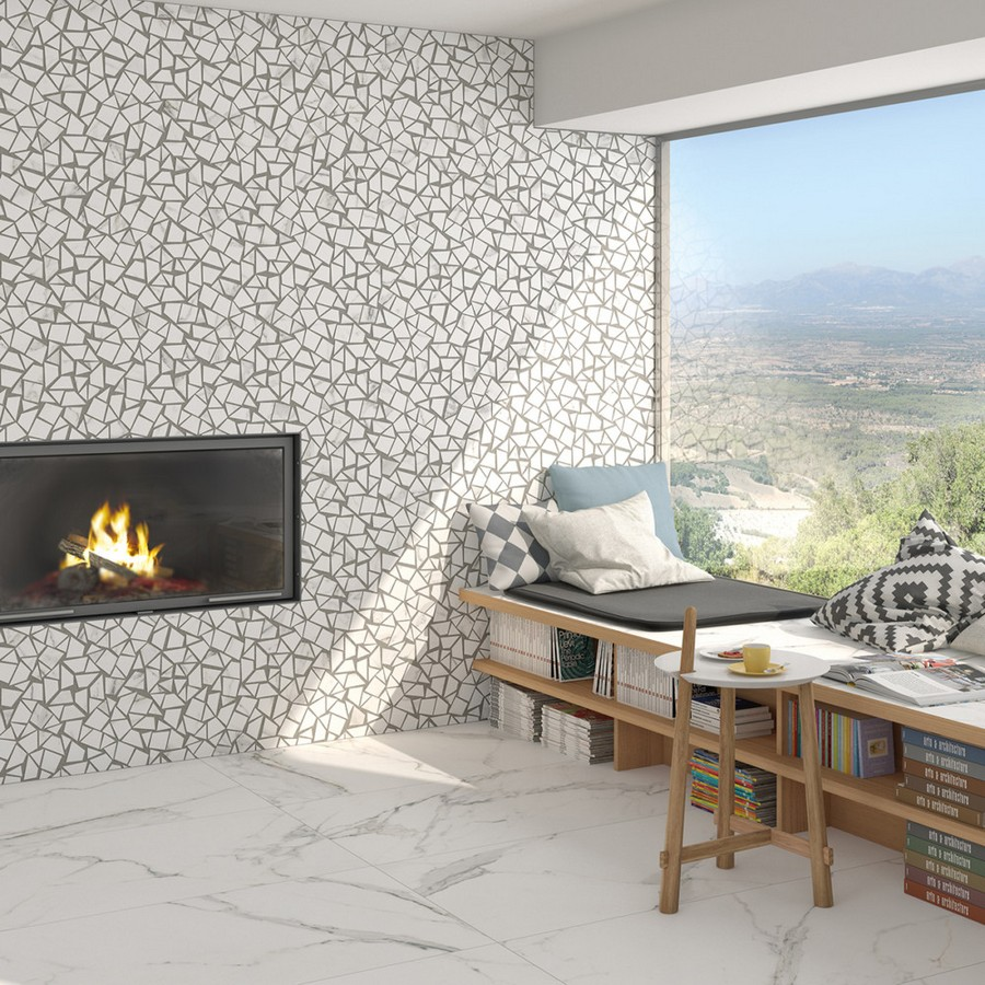 11-3-ceramic-tiles-in-interior-design-Vives-brand-collection-2017-faux-marble-floor-tiles-geometrical-white-and-gray-wall-tiles-living-room-lounge-window-seat-bench-storage-shelves-beneath-fireplace-faux